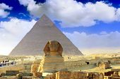 image of the great pyramids  - Ancient Great Pyramids and present day of Giza townsuburb of Cairo city - JPG