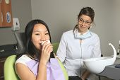 A dental office with employee and client