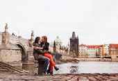 Young couple in love. Prague, Czech Republic, Europe.