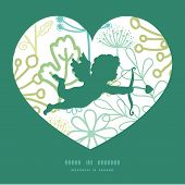 Vector mysterious green garden shooting cupid silhouette frame pattern invitation greeting card temp