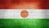 Niger flag on burlap fabric