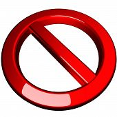 picture of banned  - Ban symbol isolated over white 3d render - JPG