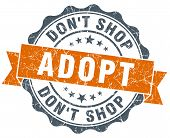 Adopt Don't Shop Orange Vintage Seal Isolated On White