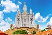 picture of sacred heart jesus  - Temple on top of Mount Tibidabo the Temple of the Sacred Heart - JPG