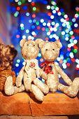 Two Handmade Provence Tilda Bear Toys On Illuminated Festive Background