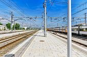 pic of gare  - Suburban railway train at the railways station Catalonia - JPG