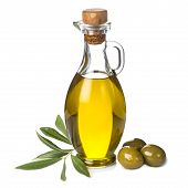 stock photo of kalamata olives  - Extra olive oil bottle and green olives with leaves isolated on a white background - JPG