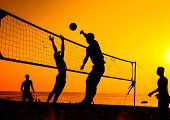 picture of volleyball  - A beach volleyball is a popular sport in Thailand - JPG