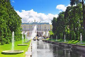 image of samson  - Park and Grand cascade in Pertergof - Saint-Petersburg ,Russia ** Note: Visible grain at 100%, best at smaller sizes - JPG