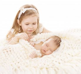 picture of little sister  - Baby Girl and Newborn Boy Sister Little Child and Sleeping Brother New Born Kid Birthday in Family Love Concept - JPG