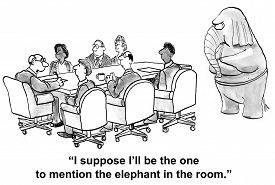 picture of ignore  - Cartoon of business people in a meeting - JPG