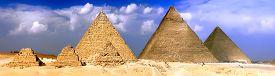 stock photo of pharaohs  - Great Pyramids located in Giza the pyramid of Pharaoh Khufu Khafre and Menkaure - JPG
