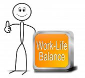 picture of stickman  - stickman with orange work life balance button - JPG