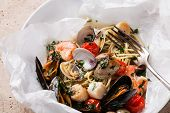 stock photo of clam  - Seafood pasta  - JPG