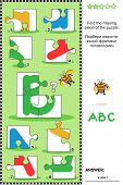 foto of letter b  - Visual educational puzzle to learn with fun the letters of English alphabet - JPG