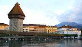 image of chapels  - historical wooden Chapel Bridge in Lucerne Switzerland - JPG