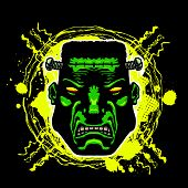 picture of inhumane  - Vector illustration of a scowling comic book style Frankenstein monster - JPG
