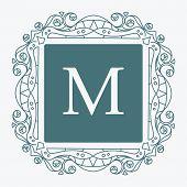 foto of gamma  - Elegant style vector monogram design template in popular aquamarine gamma - JPG