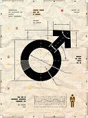 stock photo of gender  - Drafting of man sign on crumpled kraft paper - JPG