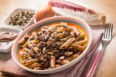 image of chicory  - macaroni with red chicory anchovy and capers - JPG