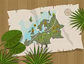 pic of treasure map  - jungle map europe cartoon adventure treasure hunt - JPG