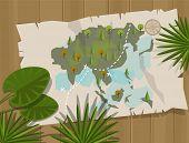 picture of treasure map  - jungle map asia cartoon adventure treasure hunt - JPG