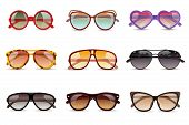 picture of protective eyewear  - Summer sun protection sunglasses realistic icons set isolated vector illustration - JPG