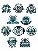 stock photo of spyglass  - Marine and nautical heraldic emblems or icons in retro style with anchors - JPG