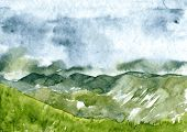 picture of rainy day  - abstract vector watercolor mountain landscape - JPG