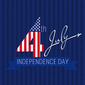 foto of four  - Design sign Independence Day on July 4 in a 4 background of the American flag and the words July - JPG