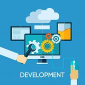 image of programmers  - Programm development concept with flat human hand and computer icons vector illustration - JPG