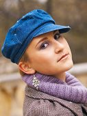picture of beret  - Young girl in beret in the park in autumn day - JPG