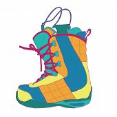 image of ski boots  - Snowboard boot with high lace nice view - JPG