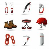 stock photo of harness  - Mountain climbing equipment tools and accessories icons set with ice axe and harness abstract isolated vector illustration - JPG