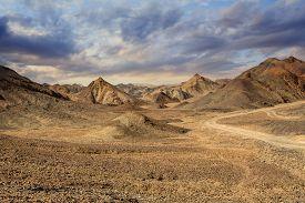 stock photo of sahara desert  - Rocks and sand in the Sahara Desert Mountains Egypt Afria - JPG