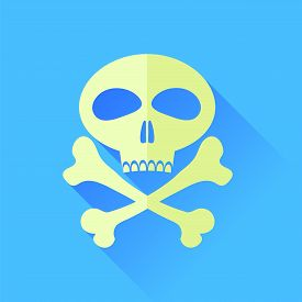 foto of skull cross bones  - Skull and Bones Isolated on Blue Background - JPG