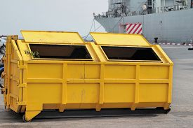 image of dustbin  - Trash can dustbins the big yellow outside - JPG