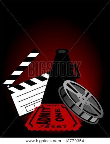Постер, плакат: Клаппер Мегафон плёнки и билет в кино вектор, холст на подрамнике