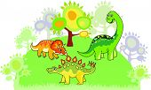 picture of paleontologist  - Cartoon dinosaur collection on the trees background - JPG