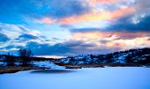 picture of murmansk  - winter north lake and sunset - JPG