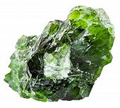 ������, ������: Raw Chrome Diopside Gem Isolated On White