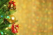 image of christmas party  - Christmas fir tree with colorful lights and decorations - JPG