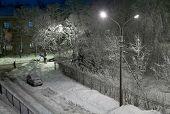 Snowy winter evening