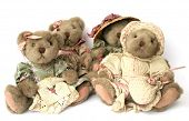 Four vintage teddy bears over white