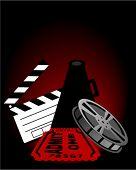 Постер, плакат: Клаппер Мегафон плёнки и билет в кино вектор