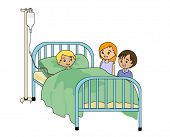 Friends visiting Sick Child - Vector
