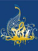 Musical Notes in Blue and Gold - Vector