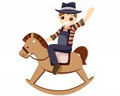 Boy on a Rocking Horse - Vector