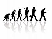 foto of darwin  - Abstract silhouette illustration of evolution going backwords - JPG