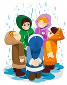 Children under the rain - Vector